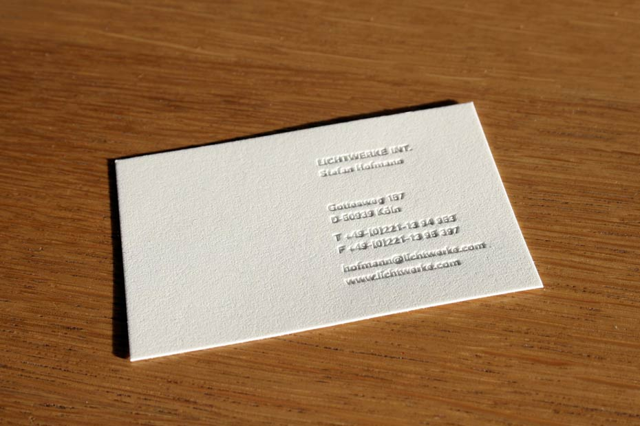 What we do business card f1rstdesign lichtwerke corporate design business card embossing on special paper from japan colourmoves